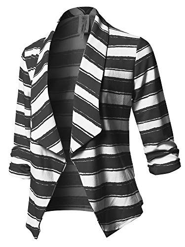 (Stretch 3/4 Gathered Sleeve Open Blazer Jacket Black White Size S)