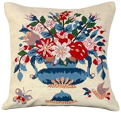 (EuroLuxHome Throw Pillow Needlepoint Butterfly Vase Star 18x18 Blue Wool Cotton Velve )