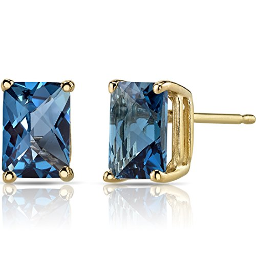 (14K Yellow Gold Radiant Cut 2.25 Carats London Blue Topaz Stud Earrings)