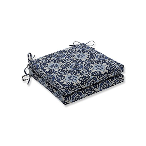 Pillow Perfect Outdoor/Indoor Woodblock Prism Blue Squared Corners Seat Cushion 20x20x3 (Set of 2)