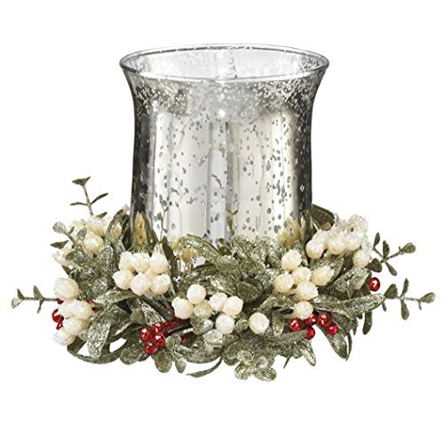 8 inch Glass Mistletoe & Red Holly Hurricane Candle