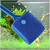 petacc Double-Sided Fish Tank Sponge Cleaning Brush Portable Scraper Practical Scrubber with Non-Slip Handle, Aquarium Cleaning Sponge, Aquarium Algae Scrubber