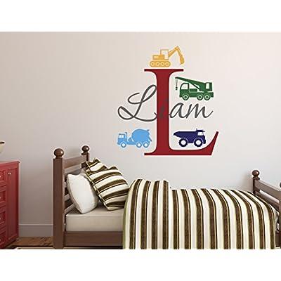 Custom Trucks Boy Name Wall Decal - Construction Wall Decals - Nursery Wall Decals - Trucks Decal - Vinyl Baby Nursery Decor (26Wx28H): Baby