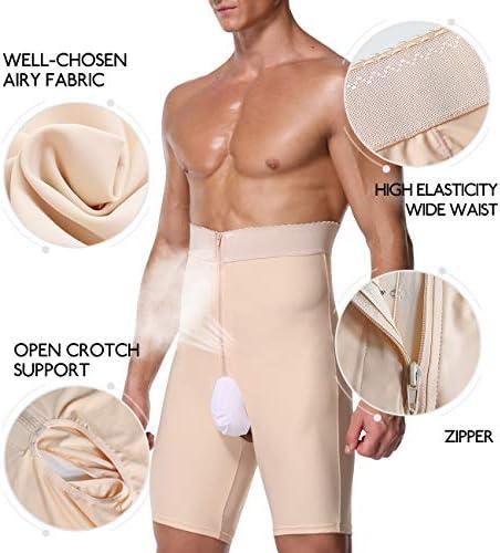 DoLoveY Men Tummy Control Shorts Girdle Body Shaper High Waist Leg Slimming Shapewear Compression Boxer Brief