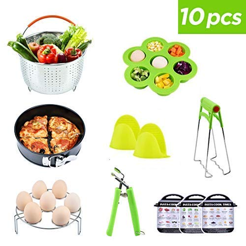 (Pressure Cooker Accessories Set 10 Parts with Steamer Basket Egg Steamer Rack Non-stick Springform Pan Steaming Stand 1 Pair Silicone Cooking Pot Mitts Three)