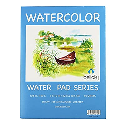 Bellofy 50 Sheet Watercolor Paper Pad - 130 IB / 190 GSM Weight - 9x12 in Size - Water Painting Art Notebook Pad