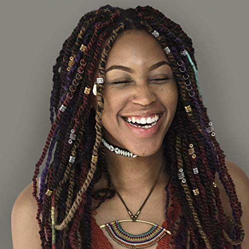 140 Pieces Hair Jewelry Rings Clips Aluminum Dread Locks Adjustable Hair Cuffs