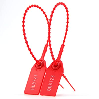 Leadseals(R) 100 PlasticTamper Seals, Zip Ties for Fire Extinguishers Pull Tite Security Tags Numbered Disposable Self-Locking Tie 250mm Length (Red)