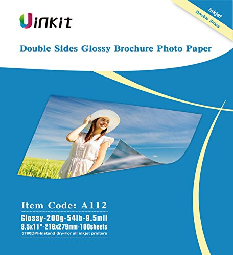 Professional Inkjet Photo Paper - Double Sided Glossy Inkjet Photo Paper - Uinkit 8.5x11 Inches 9.5Mil 200g For Inkjet Printing Only - 100sheets