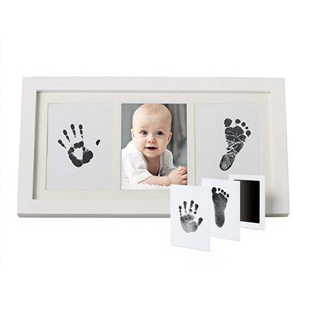 Baby Handprint Kit Hand & Footprint Makers DIY Keepsakes Picture Photo Frame for Newborn Baby Pets Shower Gifts Room Wall Table Décor Boy Girls (White)