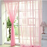 Idealhere Home Voile Curtain Tulle Window Curtain Panel Sheer Scarf Valance Voile Window Covering/Curtain/Drape(pack of 1) (Pink)
