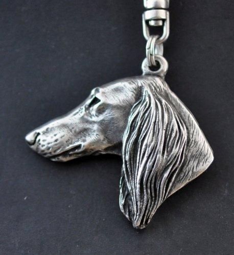 (Saluki (With Long Coat on Ears), Royal Dog of Egypt and Persian Greyhound, Gazelle Hound, Silver Hallmark 925, Silver Dog Keyring, Keychain, Limited Edition, Artdog)