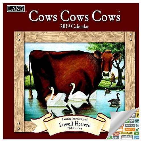 Lang Cows Calendar 2019 Set - Deluxe 2019 Lowell Herrero Cow Wall Calendar Bundle with Over 100 Calendar Stickers (Gifts for Cow Lovers)