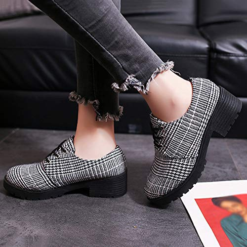 Fashion Shoes Women Mouth Retro Leather Small Ladies FALAIDUO Shoes Black Houndstooth Boots Shallow Casual British 0qx7WEdv