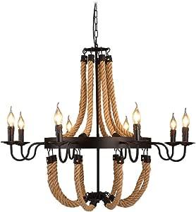 Vintage Hemp Rope 6-Lamps Chandelier Pendant Light Loft Industrial Vintage Dining Table Hanging Lamp