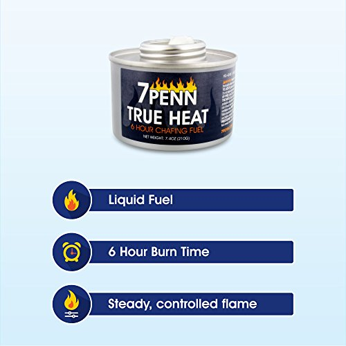 7Penn Liquid Safety Fuel True Heat 6 Hour Cooking Fuel 12-Pack & FREE Lid Opener – Food Warming Heated Cans, Wick Chafing Dish Burner Buffet Warmer by 7Penn (Image #1)