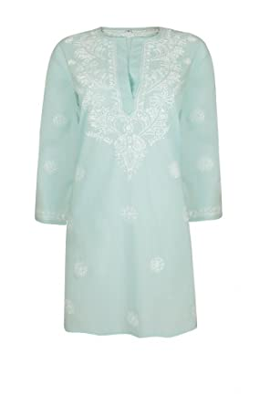 44f2bf112c94 Ladies Pale Aqua Beach Kaftan Cover Up with White Hand Embroidery  Amazon.co .uk  Clothing