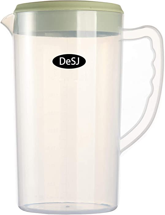 0.66 Gallon/2.5 Litre Plastic Pitcher with Lid BPA-FREE Eco-Friendly Carafes Mix Drinks Water Jug for Hot/Cold Lemonade Juice Beverage Jar Ice Tea Kettle (84oz, Green)