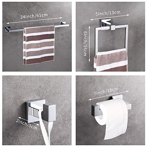 LUCKUP 4 Piece Bath Hardware Towel Bar Accessory, Includes Towel Bar, Robe Hook, Towel Ring, and Toilet Paper Holder, 304 Stainless Steel Wall Mounted,Polished Chrome … … by LUCKUP (Image #1)