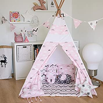 Kids Teepee Tent with 4 Poles and Floor MatPlay Tent Kids Teepee : kids teepee tent - memphite.com