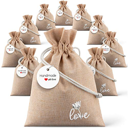 "Burlap Bag with Drawstring 5"" x 7"" for Rustic Wedding 10 Pack - 10 Kraft Tags - Favors for Your Party – Tiny Gift Bags – Pouches Sacks for Christmas -"