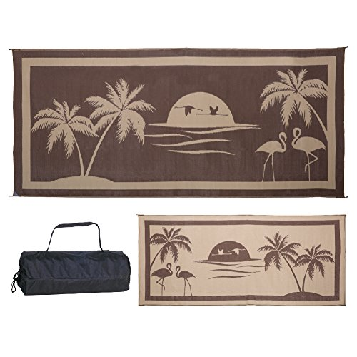 Stylish Camping Brown/Beige 8' x 18' Ming'S Mark TO8187 Mat Tropical Oasis 8 X 18 (Outdoor Rugs Beach)