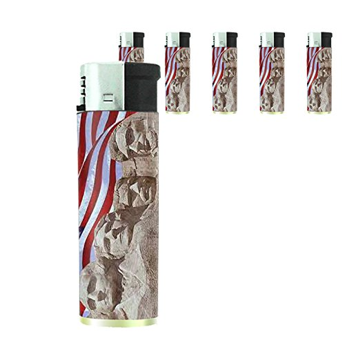 Vintage American Flag Set of 5 Lighters D9 Patriotic Freedom American Heroes Veterans by Perfection In Style