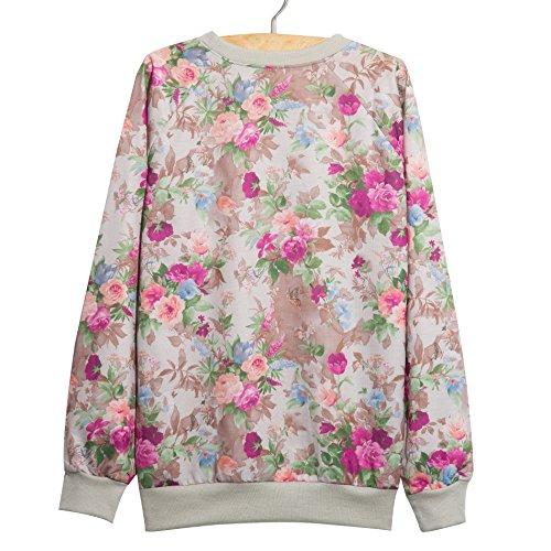 YICHUN mujeres niñas 'Tops camisetas Pullovers Thin jerséis Sudaderas Flower 6#