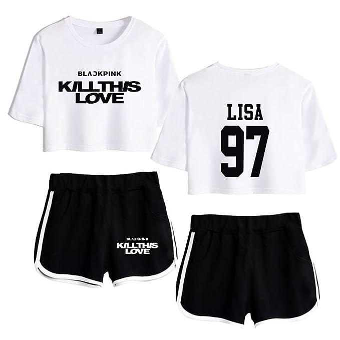 Blackpink Kill This Love KPOP Ropa Camiseta Set Expuestos Pantalones Cortos Ombligo Traje De La Camiseta Crop Top T-Shirt JISOO Lisa Rose Jennie