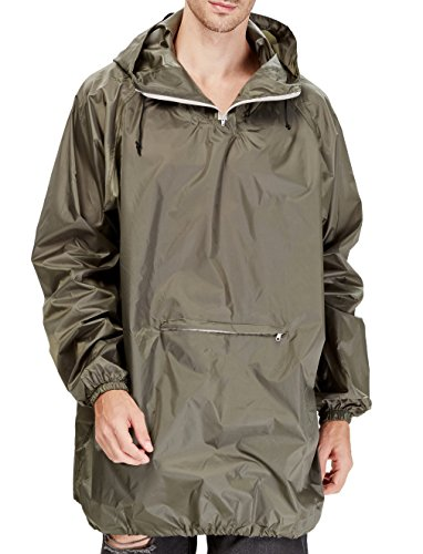4ucycling Raincoat Easy Carry Rain Coat Jacket Poncho in a Pouch Outdoor, Army Green Lightweight by 4ucycling