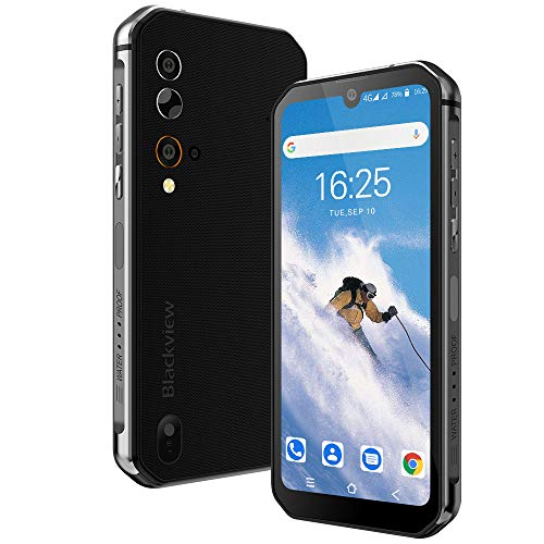 Blackview BV9900E Mobile Phone Android 10, 48MP Quad AI Camera, Helio P90 6GB+128GB IP68 Rugged Smartphone, 5.84″ 19:9 FHD+ IPS Waterdrop Screen,4380mAh Wireless Charge NFC Dual Sim Face ID – Black