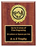 Lamp of Knowledge Plaque Trophy 6x8 Wood Academic Education Trophies Awards Free Engraving