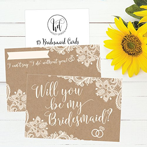 15 Will You Be My Bridesmaid Cards Kraft Lace, I Can't Say I Do Without You, Rustic Bridesmaids Proposal Note For Gifts, Blank Ask To Be Your Bridesmaids Invitations Set, Asking A Bridesmaid Invite Photo #4