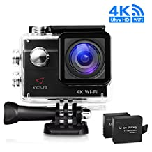 Action Camera 4K WIFI Underwater Waterproof Sports Cam 20MP Underwater Diving Camera 170° Wide Angel 2 Inch LCD Display with 2 Pcs Rechargeable Batteries and Accessories Kits