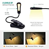 LuminoLite B076SVC7SN Rechargeable 3000K Warm 6 LED Book, Easy Clip Lights Bed. 3 Brightness Eye-Care, 2.1 oz Lightweight, 20 Hours Reading. Perfect for Bookworms & Kids, Classic Black