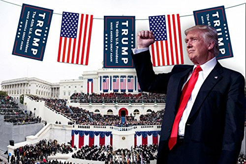 President Trump Flag Bunting Banner Yard Sign - 20ft Long - 12x18inch for Each Flag -- Donald Trump the 45th U.S. President with USA American Flag - MAKE AMERICA GREAT AGAIN!