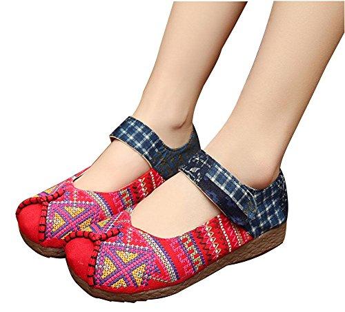 bordados estilo solo mujeres de mano transpirable antideslizante Zapatos estilo chino antideslizante las damas a red para cómodo 01dqnPUx