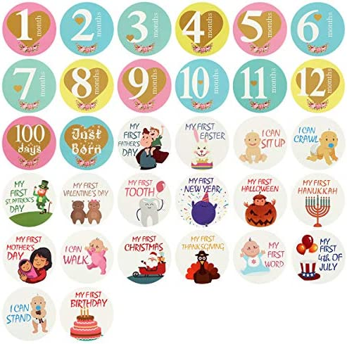 Haokaini Fotostickers voor het eerste jaar 32 stuks 14 maandstickers 6 mijlpaalstickers 12 vakantiestickers Baby Shower Cadeaus Stickers Set