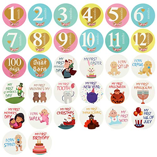 Yinuoday 32 Pack Baby Monthly Sticker,Newborn Baby Milestone Sticker,Baby Boy or Girl First Holiday Sticker Baby Shower Gift
