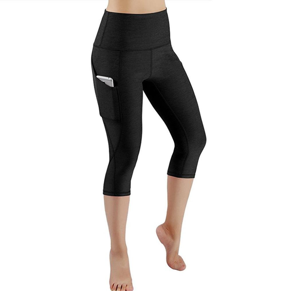 High Waist Out Pocket Yoga Pants Tummy Control Workout Running Yoga Leggings (L, Black)