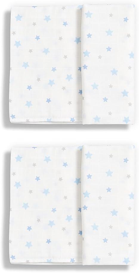Gloop. Set de 2 Paños, algodón estrellas azul 100 x 100 cm: Amazon.es: Bebé