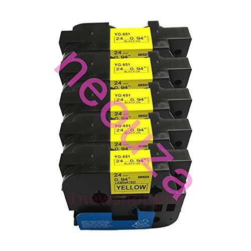 NEOUZA 5PK Compatible For Brother P-Touch Laminated Tze TZ Label Tape Cartridge 24mm x 8m (TZe-651 Black on Yellow)