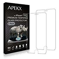 APEKX iPhone Tempered Glass Screen Protector 2 Pack 9H 3D Touch Compatible Max Touch Accuracy Durability HD Clarity Bubble Free Anti-Fingerprint Case Friendly by APEKX