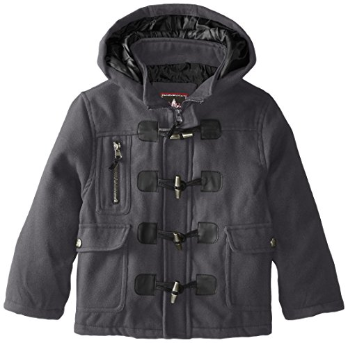 Charcoal Wool Toggle Boys' Coat Hooded YMI Button vA1Yqaqw