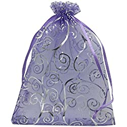 YIJUE 100pcs 5x7 Inches Drawstrings Organza Gift Candy Bags Wedding Favors Bags (Purple with Silver)