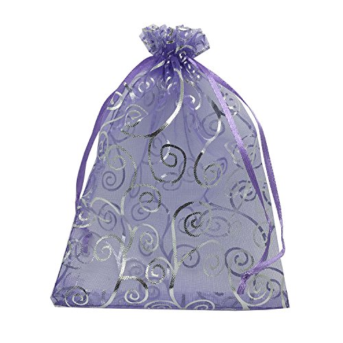 YIJUE 100pcs 5x7 Inches Drawstrings Organza Gift Candy Bags Wedding Favors Bags (Purple with Silver) -