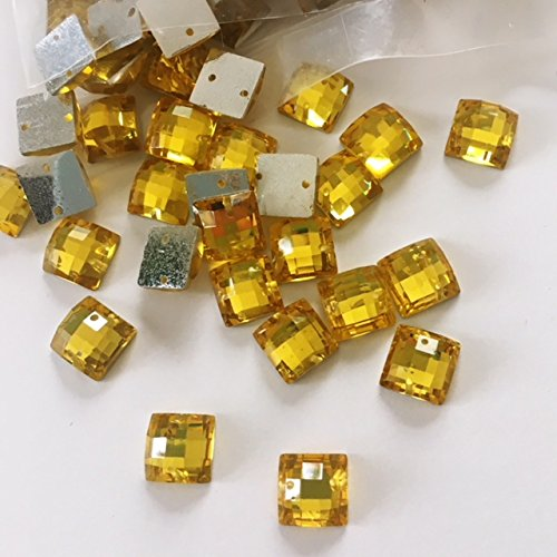 Crystal Light Gold Square Shape 10mm Resin Stone Sew-on or Glue-On Sold Per Pack/150 Pcs by Top Trimming