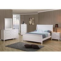 4pc Full Size Sleigh Bedroom Set Cape Cod Style in White Finish