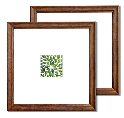 Vista Wall Frame - Vista Dominica Set of 2, 12 x 12 Picture Frame, Classic Bevel in Walnut, Wide Mat w 5 x 5 inches Opening