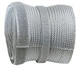 RICOO Z9085G-5 Cable Tidy Management Flexible Trunking Sleeve Wire Organiser with Velcro Hook and Loop Fastener Polyester Duct / 5m Grey